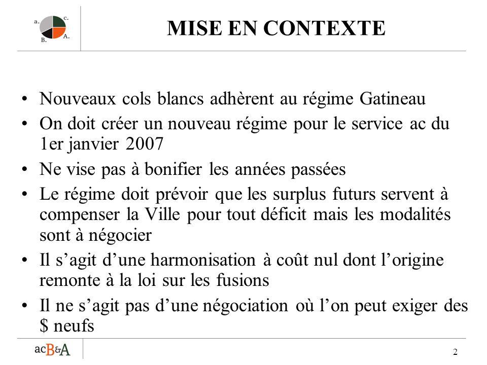 2 MISE EN CONTEXTE Nouveaux cols blancs adhèrent au régime Gatineau On doit créer un nouveau régime pour le service ac du 1er janvier 2007 Ne vise pas