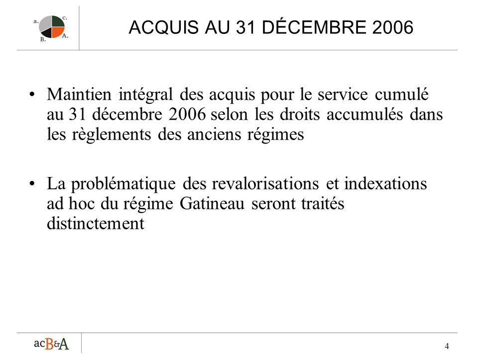 4 ACQUIS AU 31 DÉCEMBRE 2006 Maintien intégral des acquis pour le service cumulé au 31 décembre 2006 selon les droits accumulés dans les règlements de
