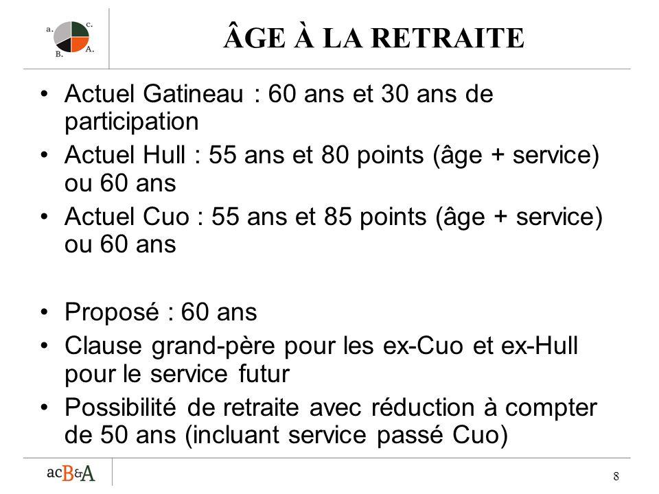 8 ÂGE À LA RETRAITE Actuel Gatineau : 60 ans et 30 ans de participation Actuel Hull : 55 ans et 80 points (âge + service) ou 60 ans Actuel Cuo : 55 an
