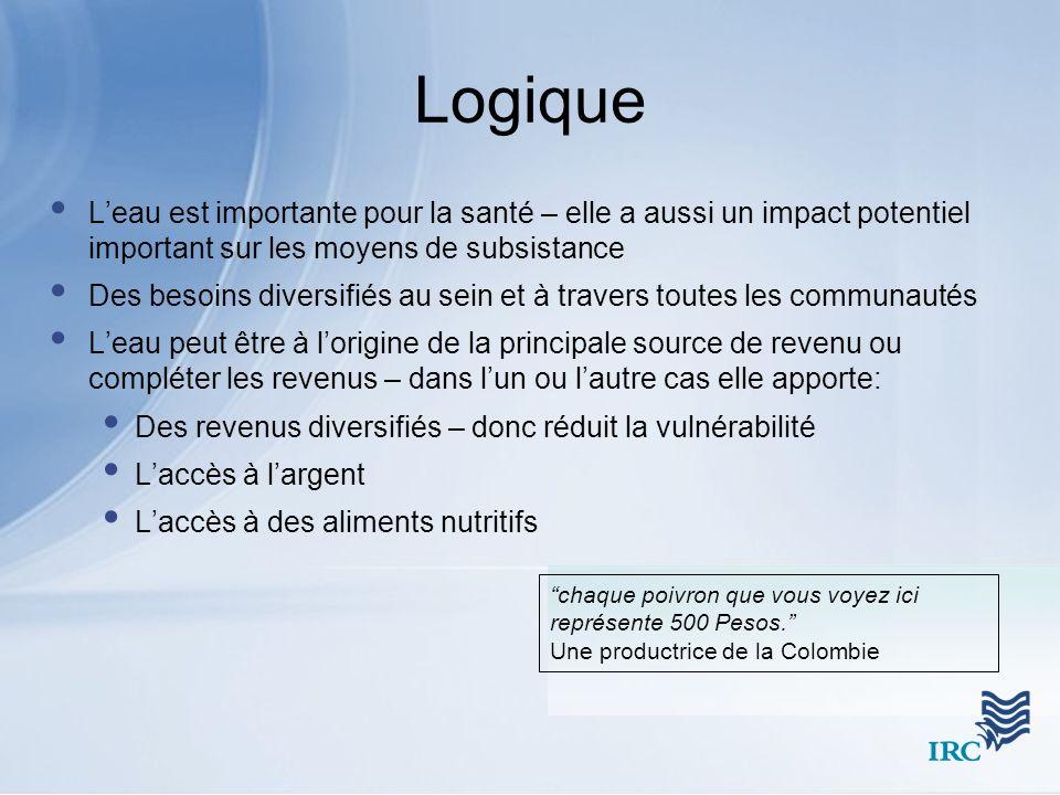 Logique Leau est importante pour la santé – elle a aussi un impact potentiel important sur les moyens de subsistance Des besoins diversifiés au sein e