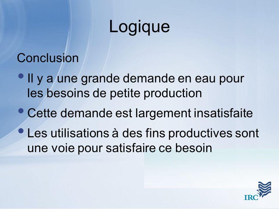 Logique Conclusion Il y a une grande demande en eau pour les besoins de petite production Cette demande est largement insatisfaite Les utilisations à