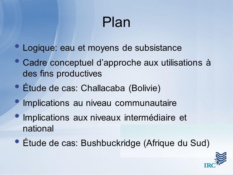 Plan Logique: eau et moyens de subsistance Cadre conceptuel dapproche aux utilisations à des fins productives Étude de cas: Challacaba (Bolivie) Impli