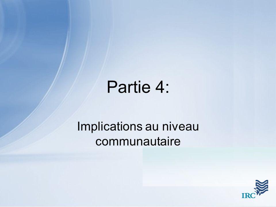 Partie 4: Implications au niveau communautaire
