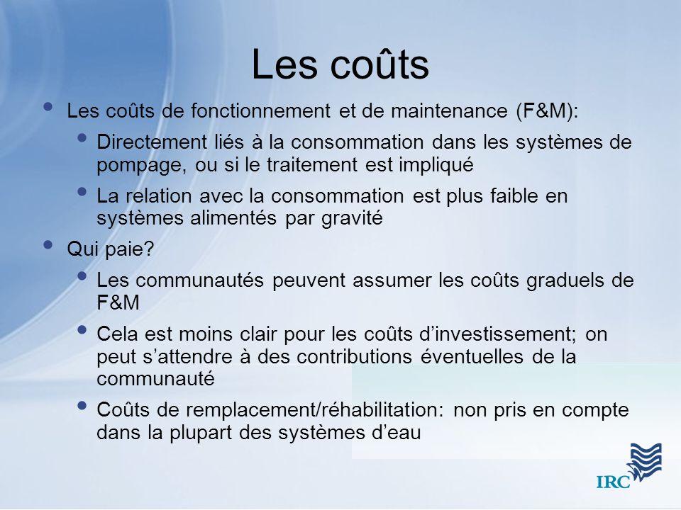 Les coûts Les coûts de fonctionnement et de maintenance (F&M): Directement liés à la consommation dans les systèmes de pompage, ou si le traitement es