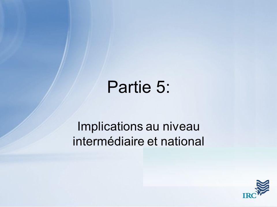 Partie 5: Implications au niveau intermédiaire et national
