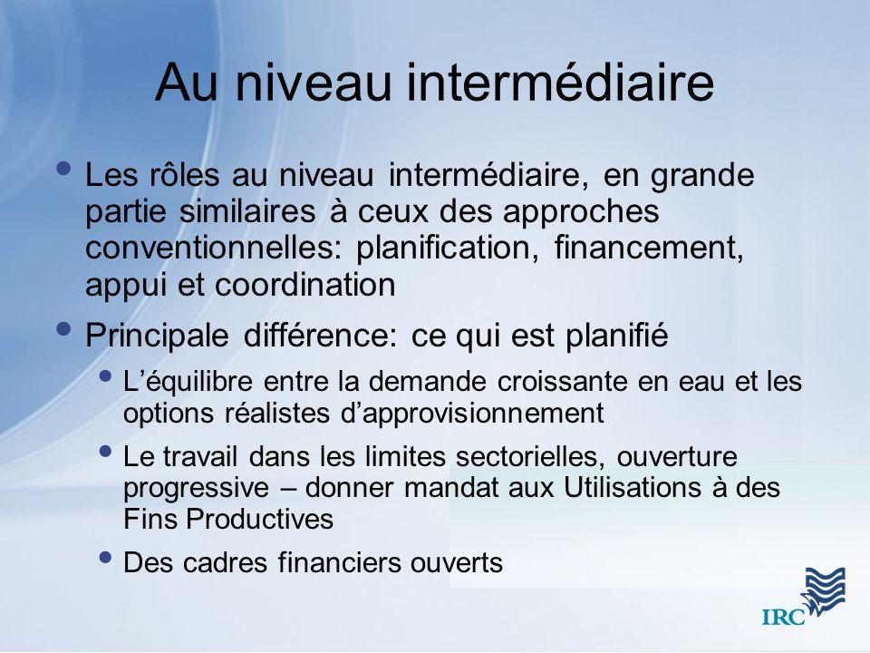 Au niveau intermédiaire Les rôles au niveau intermédiaire, en grande partie similaires à ceux des approches conventionnelles: planification, financeme