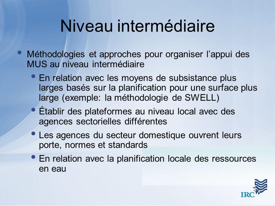 Niveau intermédiaire Méthodologies et approches pour organiser lappui des MUS au niveau intermédiaire En relation avec les moyens de subsistance plus