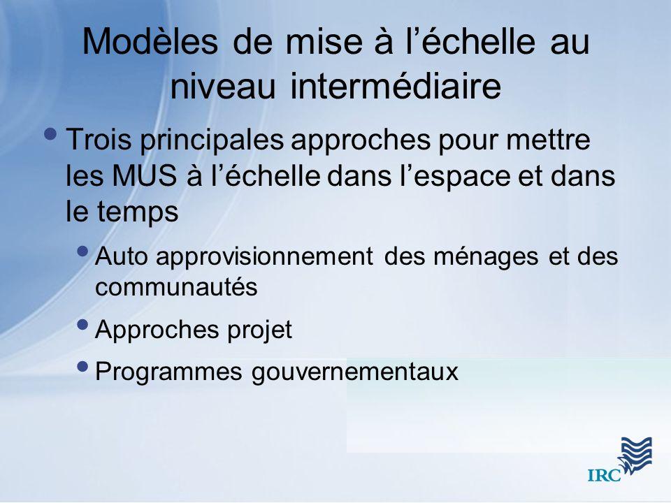Modèles de mise à léchelle au niveau intermédiaire Trois principales approches pour mettre les MUS à léchelle dans lespace et dans le temps Auto appro