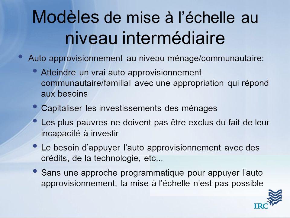 Modèles de mise à léchelle au niveau intermédiaire Auto approvisionnement au niveau ménage/communautaire: Atteindre un vrai auto approvisionnement com