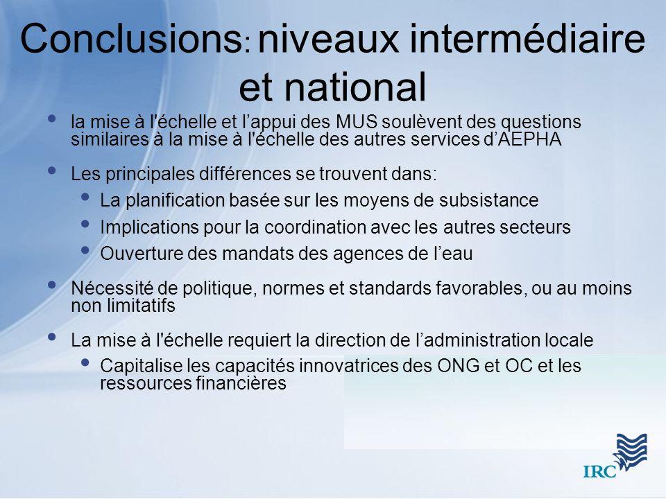 Conclusions : niveaux intermédiaire et national la mise à l'échelle et lappui des MUS soulèvent des questions similaires à la mise à l'échelle des aut