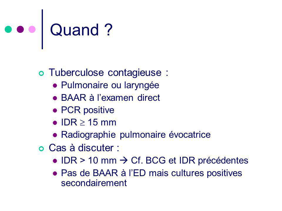 Quand ? Tuberculose contagieuse : Pulmonaire ou laryngée BAAR à lexamen direct PCR positive IDR 15 mm Radiographie pulmonaire évocatrice Cas à discute