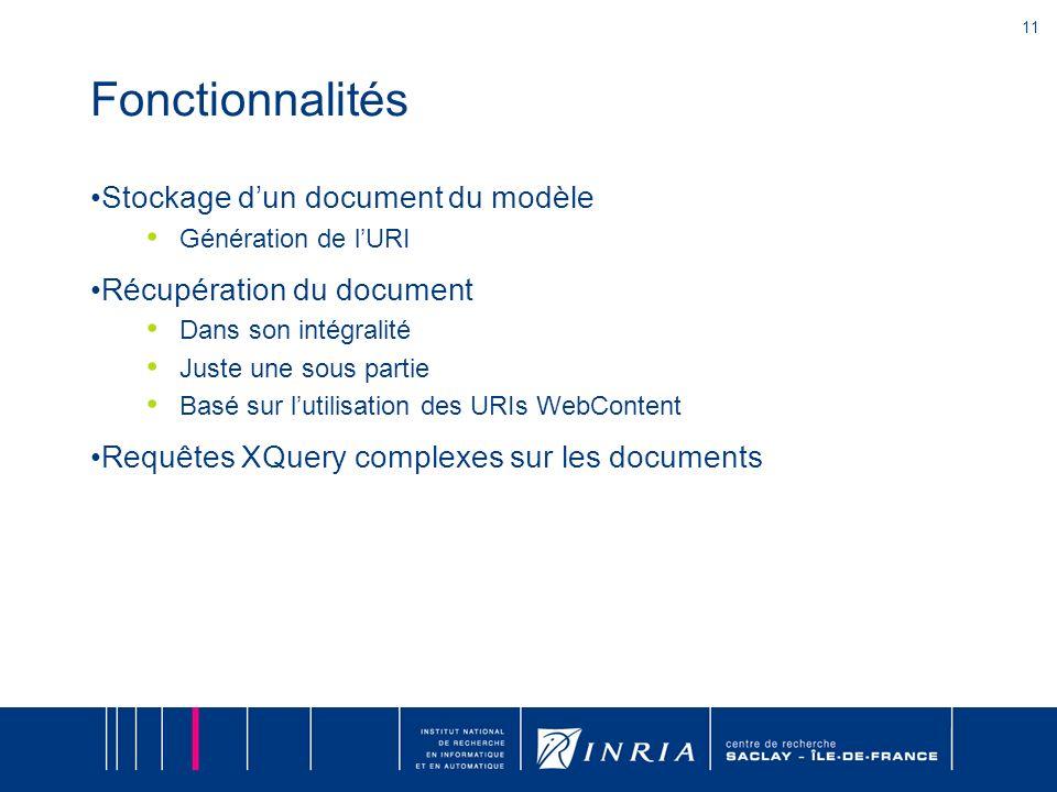 11 Fonctionnalités Stockage dun document du modèle Génération de lURI Récupération du document Dans son intégralité Juste une sous partie Basé sur lutilisation des URIs WebContent Requêtes XQuery complexes sur les documents