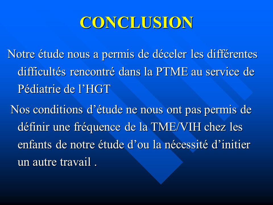 CONCLUSION Notre étude nous a permis de déceler les différentes difficultés rencontré dans la PTME au service de Pédiatrie de lHGT Nos conditions détu