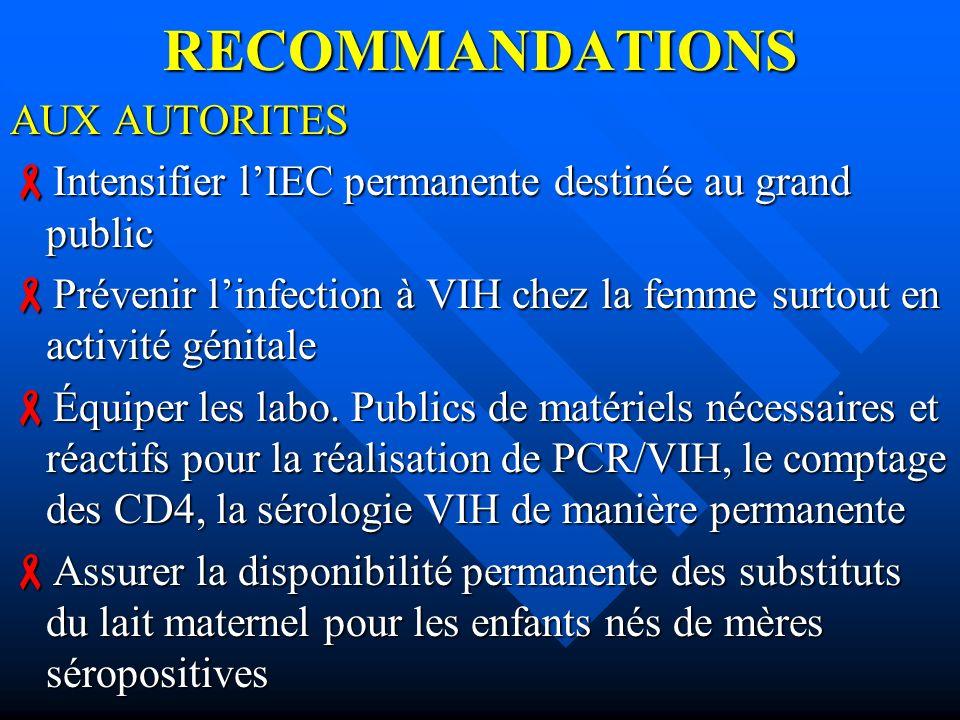 RECOMMANDATIONS AUX AUTORITES Intensifier lIEC permanente destinée au grand public Intensifier lIEC permanente destinée au grand public Prévenir linfe