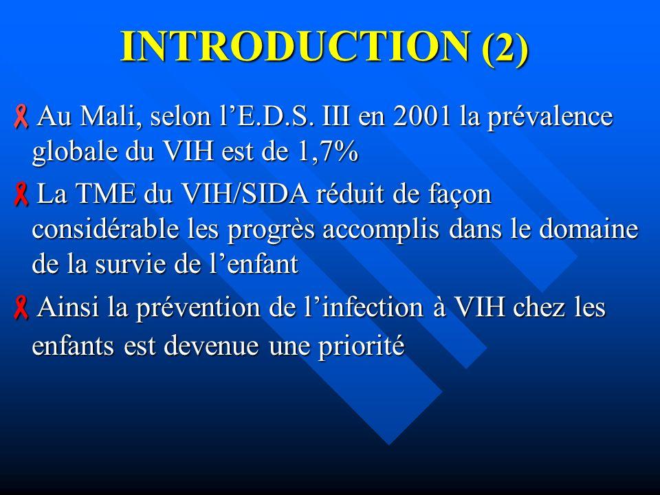 INTRODUCTION (2) Au Mali, selon lE.D.S. III en 2001 la prévalence globale du VIH est de 1,7% Au Mali, selon lE.D.S. III en 2001 la prévalence globale