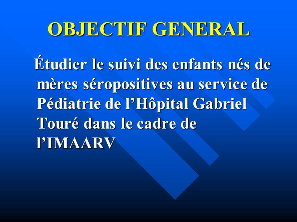 OBJECTIF GENERAL Étudier le suivi des enfants nés de mères séropositives au service de Pédiatrie de lHôpital Gabriel Touré dans le cadre de lIMAARV Ét