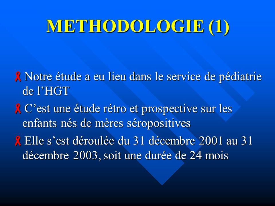 METHODOLOGIE (1) Notre étude a eu lieu dans le service de pédiatrie de lHGT Notre étude a eu lieu dans le service de pédiatrie de lHGT Cest une étude