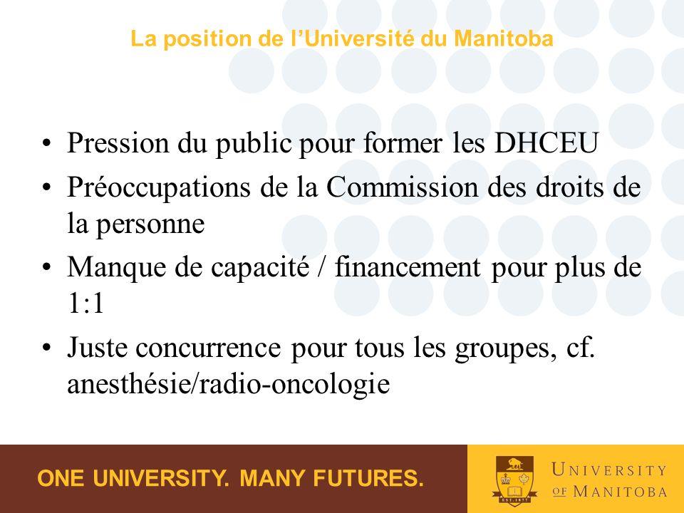 ONE UNIVERSITY. MANY FUTURES. La position de lUniversité du Manitoba Pression du public pour former les DHCEU Préoccupations de la Commission des droi