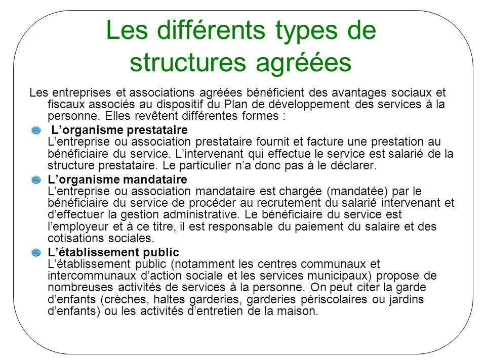 Les différents types de structures agréées Les entreprises et associations agréées bénéficient des avantages sociaux et fiscaux associés au dispositif du Plan de développement des services à la personne.