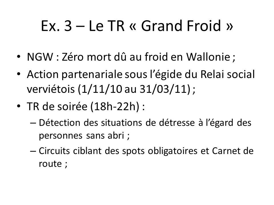 Ex. 3 – Le TR « Grand Froid » NGW : Zéro mort dû au froid en Wallonie ; Action partenariale sous légide du Relai social verviétois (1/11/10 au 31/03/1