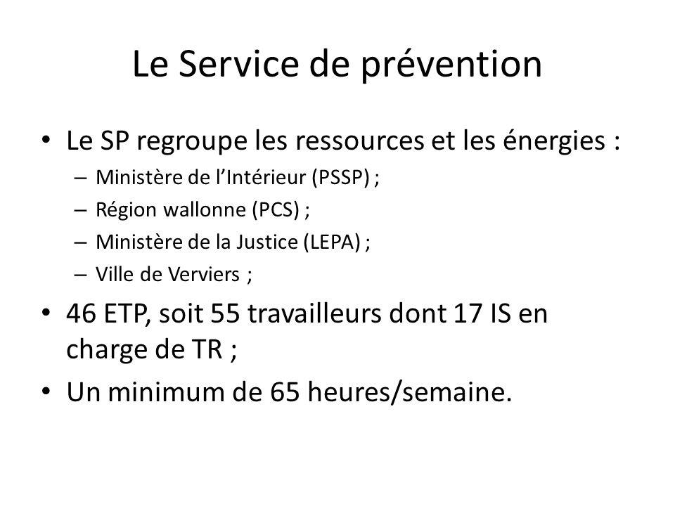 Le Service de prévention Le SP regroupe les ressources et les énergies : – Ministère de lIntérieur (PSSP) ; – Région wallonne (PCS) ; – Ministère de la Justice (LEPA) ; – Ville de Verviers ; 46 ETP, soit 55 travailleurs dont 17 IS en charge de TR ; Un minimum de 65 heures/semaine.