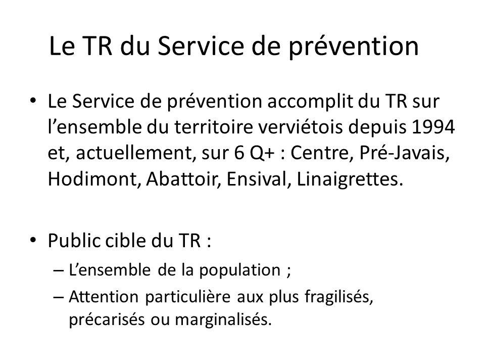 Le TR du Service de prévention Le Service de prévention accomplit du TR sur lensemble du territoire verviétois depuis 1994 et, actuellement, sur 6 Q+ : Centre, Pré-Javais, Hodimont, Abattoir, Ensival, Linaigrettes.