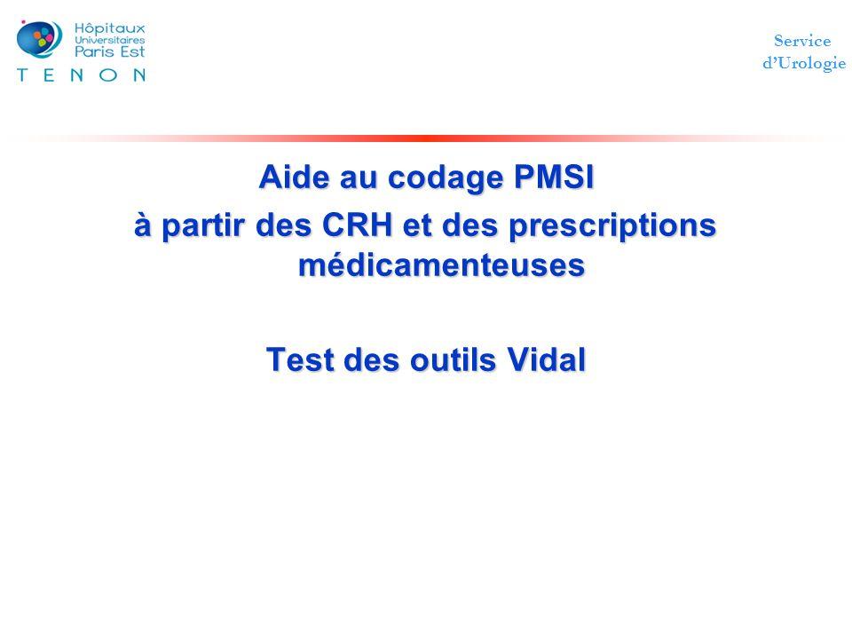 Service dUrologie Aide au codage PMSI à partir des CRH et des prescriptions médicamenteuses Test des outils Vidal