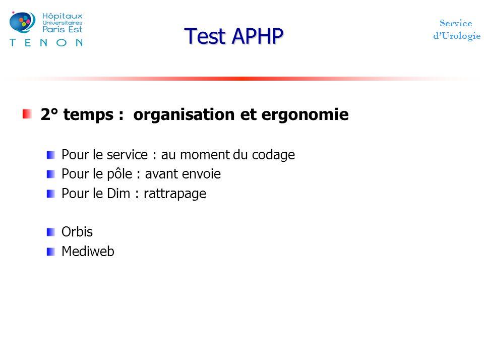 Service dUrologie Test APHP 2° temps : organisation et ergonomie Pour le service : au moment du codage Pour le pôle : avant envoie Pour le Dim : rattr