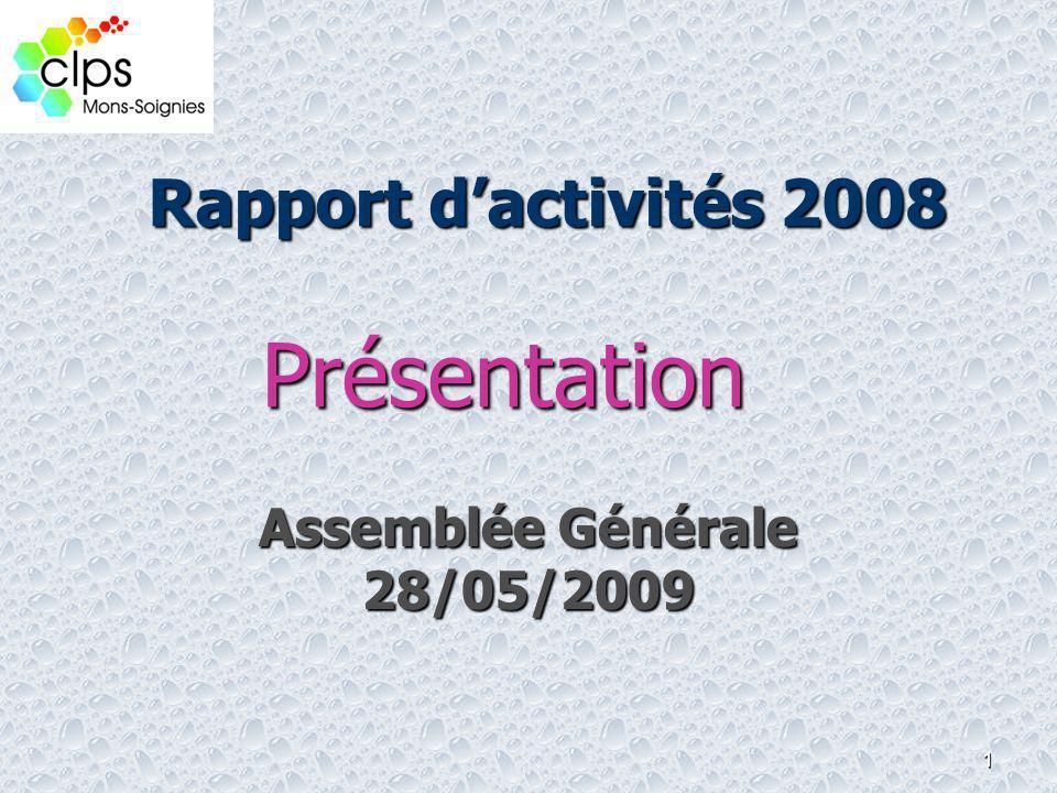 1 Rapport dactivités 2008 Assemblée Générale 28/05/2009 Présentation