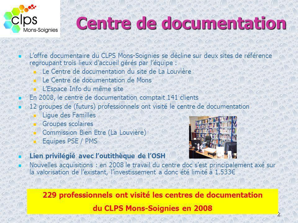 2 Loffre documentaire du CLPS Mons-Soignies se décline sur deux sites de référence regroupant trois lieux daccueil gérés par léquipe : Le Centre de do