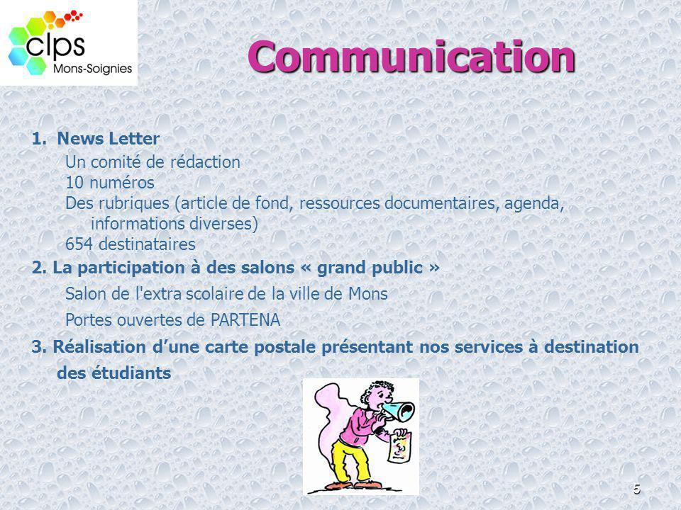 5 Communication 1.News Letter Un comité de rédaction 10 numéros Des rubriques (article de fond, ressources documentaires, agenda, informations diverse