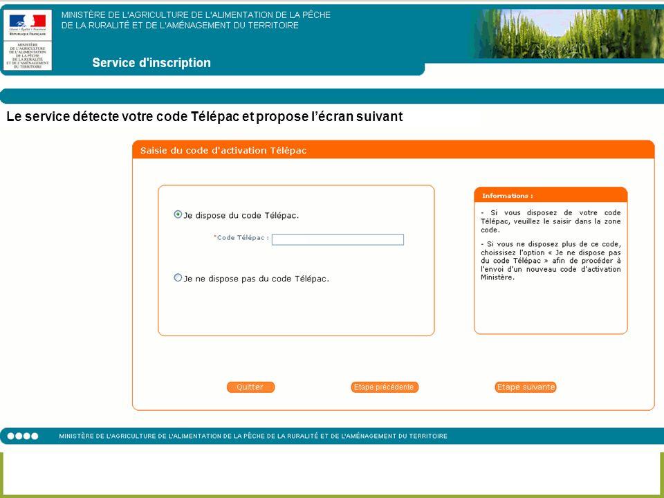 Le service détecte votre code Télépac et propose lécran suivant