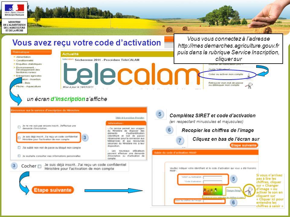 Vous avez reçu votre code dactivation un écran dinscription saffiche Complétez SIRET et code dactivation (en respectant minuscules et majuscules) Reco