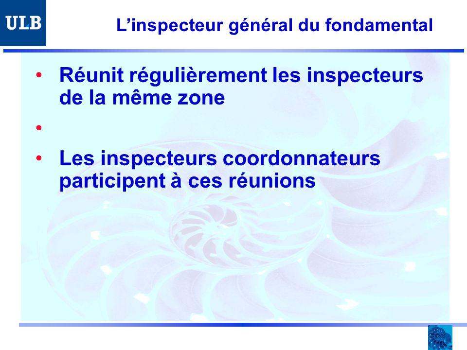 Linspecteur général du fondamental Réunit régulièrement les inspecteurs de la même zone Les inspecteurs coordonnateurs participent à ces réunions