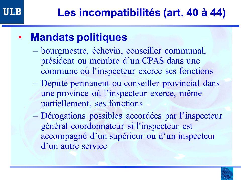 Les incompatibilités (art.