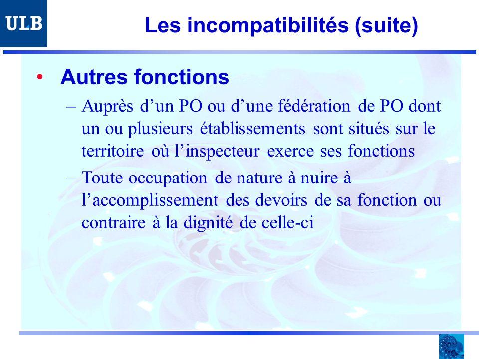 Les incompatibilités (suite) Autres fonctions –Auprès dun PO ou dune fédération de PO dont un ou plusieurs établissements sont situés sur le territoire où linspecteur exerce ses fonctions –Toute occupation de nature à nuire à laccomplissement des devoirs de sa fonction ou contraire à la dignité de celle-ci