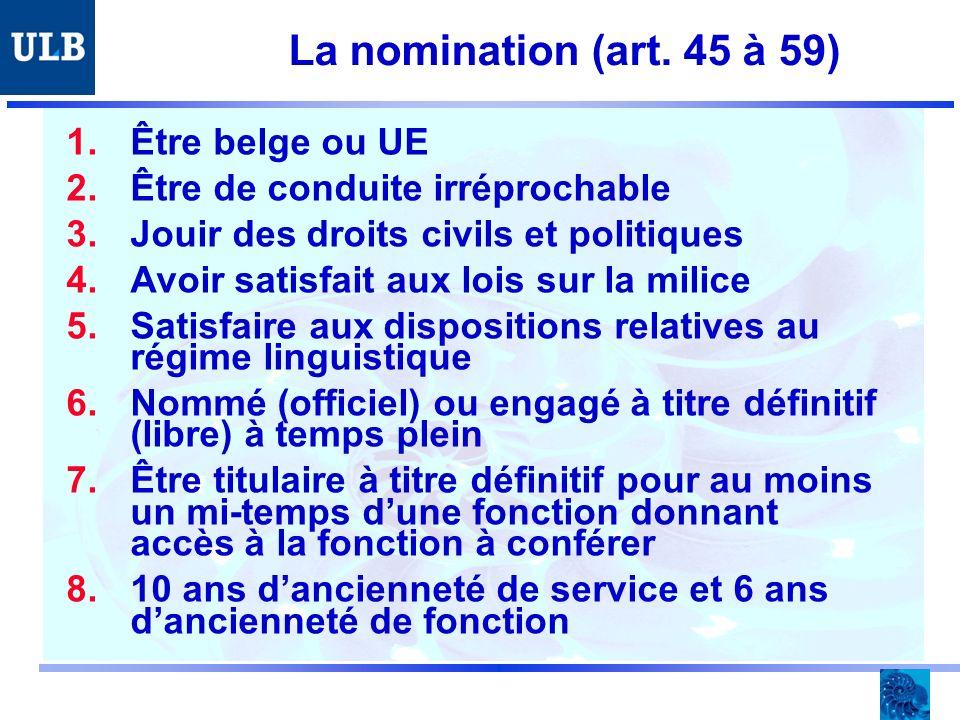 La nomination (art. 45 à 59) 1.Être belge ou UE 2.Être de conduite irréprochable 3.Jouir des droits civils et politiques 4.Avoir satisfait aux lois su