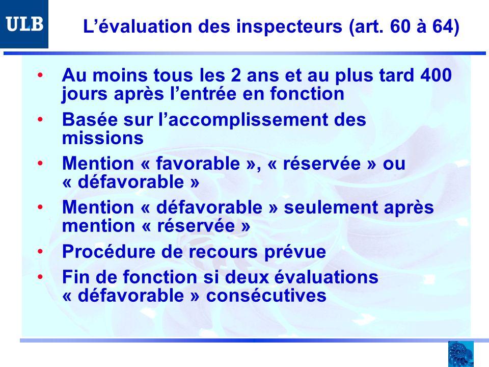 Lévaluation des inspecteurs (art.