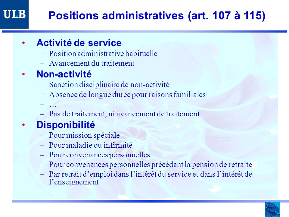 Positions administratives (art.