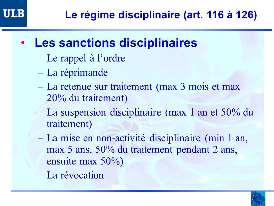 Le régime disciplinaire (art.
