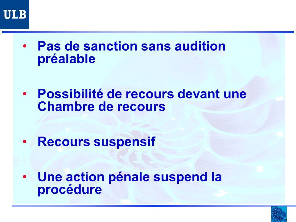 Pas de sanction sans audition préalable Possibilité de recours devant une Chambre de recours Recours suspensif Une action pénale suspend la procédure