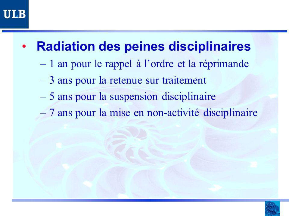 Radiation des peines disciplinaires –1 an pour le rappel à lordre et la réprimande –3 ans pour la retenue sur traitement –5 ans pour la suspension disciplinaire –7 ans pour la mise en non-activité disciplinaire
