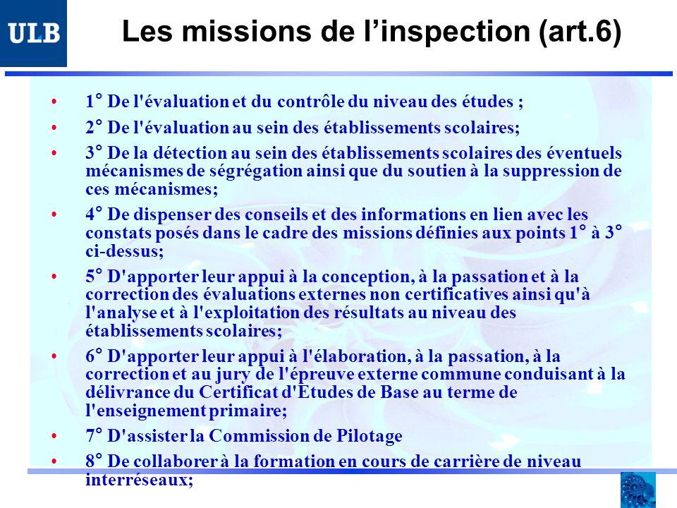Les missions de linspection (art.6) 1° De l évaluation et du contrôle du niveau des études ; 2° De l évaluation au sein des établissements scolaires; 3° De la détection au sein des établissements scolaires des éventuels mécanismes de ségrégation ainsi que du soutien à la suppression de ces mécanismes; 4° De dispenser des conseils et des informations en lien avec les constats posés dans le cadre des missions définies aux points 1° à 3° ci-dessus; 5° D apporter leur appui à la conception, à la passation et à la correction des évaluations externes non certificatives ainsi qu à l analyse et à l exploitation des résultats au niveau des établissements scolaires; 6° D apporter leur appui à l élaboration, à la passation, à la correction et au jury de l épreuve externe commune conduisant à la délivrance du Certificat d Etudes de Base au terme de l enseignement primaire; 7° D assister la Commission de Pilotage 8° De collaborer à la formation en cours de carrière de niveau interréseaux;