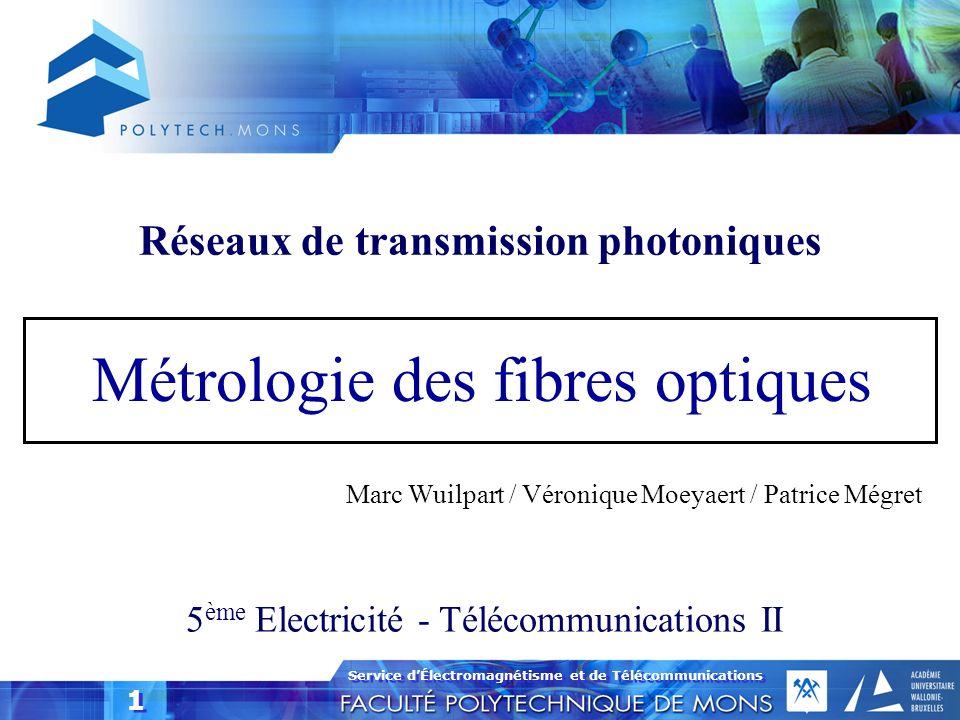 Service dÉlectromagnétisme et de Télécommunications 1 1 Métrologie des fibres optiques 5 ème Electricité - Télécommunications II Marc Wuilpart / Véron