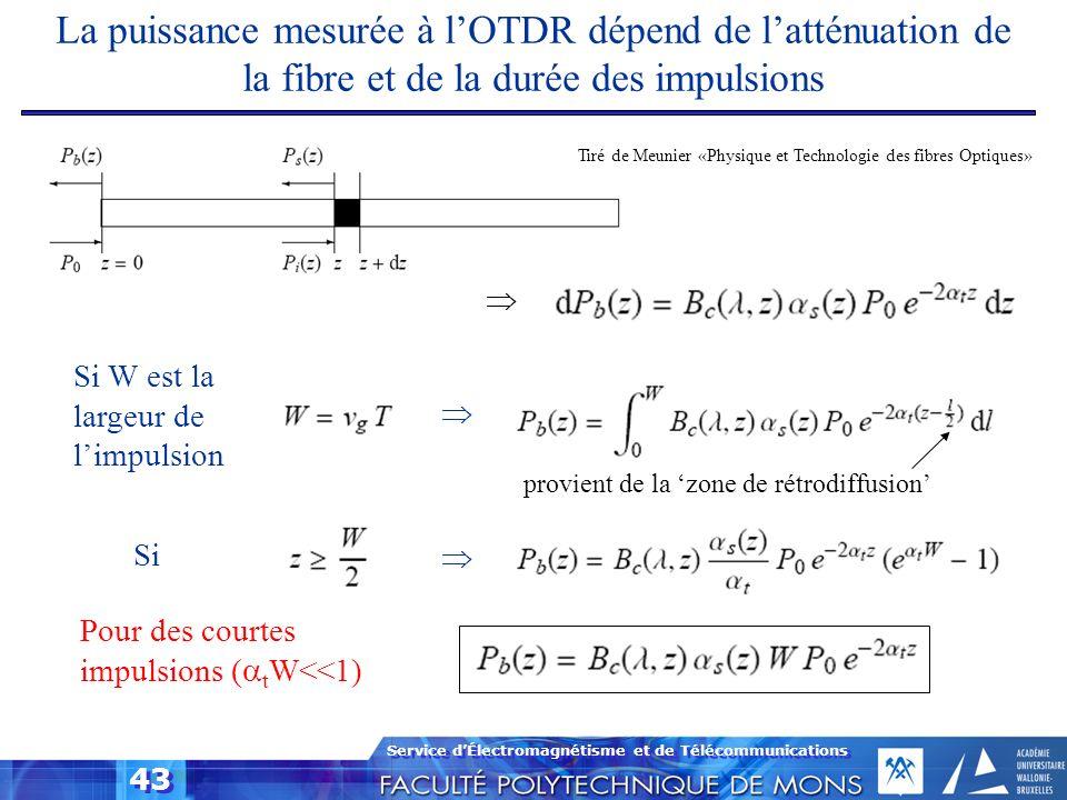 Service dÉlectromagnétisme et de Télécommunications 43 Pour des courtes impulsions ( t W<<1) Si Si W est la largeur de limpulsion La puissance mesurée