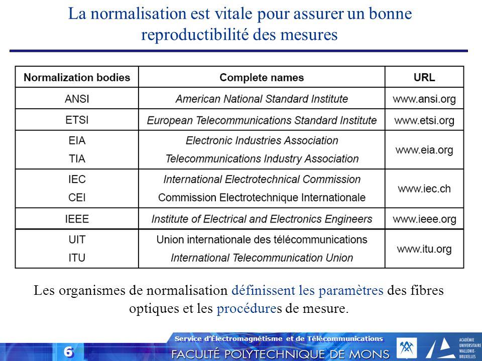 Service dÉlectromagnétisme et de Télécommunications 6 La normalisation est vitale pour assurer un bonne reproductibilité des mesures Les organismes de