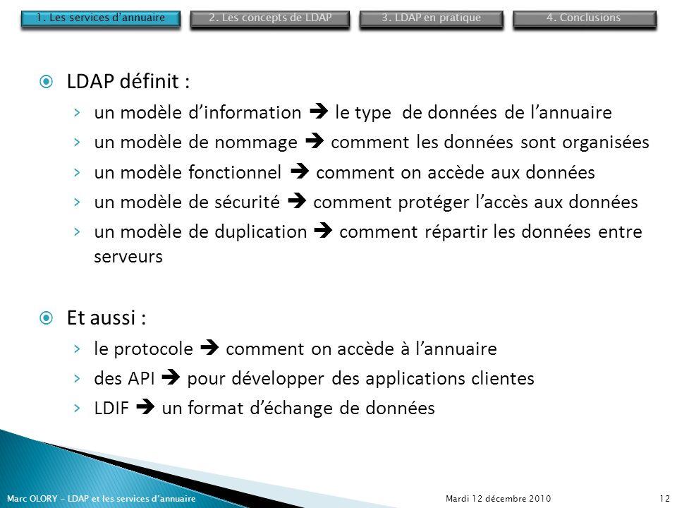 Mardi 12 décembre 2010Marc OLORY – LDAP et les services dannuaire12 LDAP définit : un modèle dinformation le type de données de lannuaire un modèle de