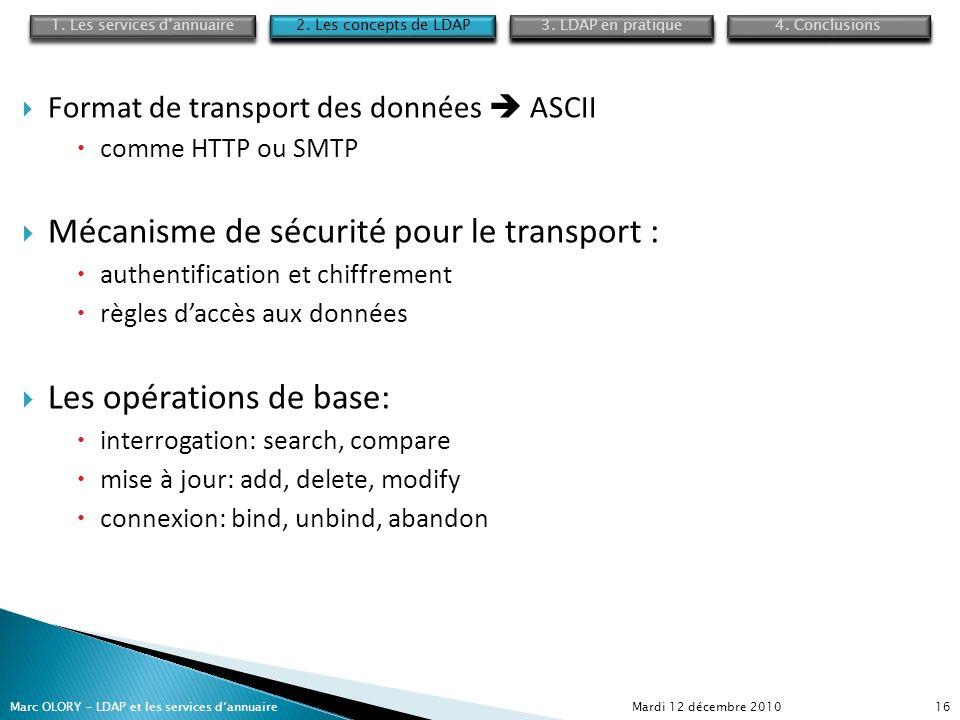 Mardi 12 décembre 2010Marc OLORY – LDAP et les services dannuaire16 Format de transport des données ASCII comme HTTP ou SMTP Mécanisme de sécurité pou