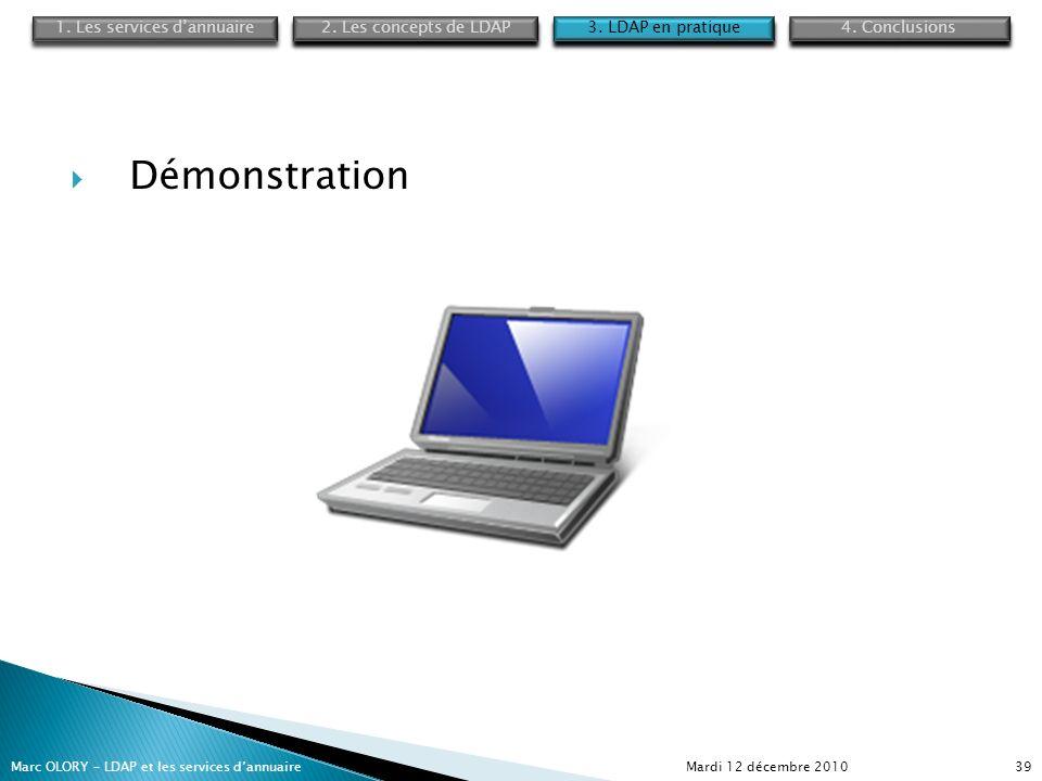 Mardi 12 décembre 2010Marc OLORY – LDAP et les services dannuaire39 Démonstration 1. Les services dannuaire 4. Conclusions 2. Les concepts de LDAP 3.
