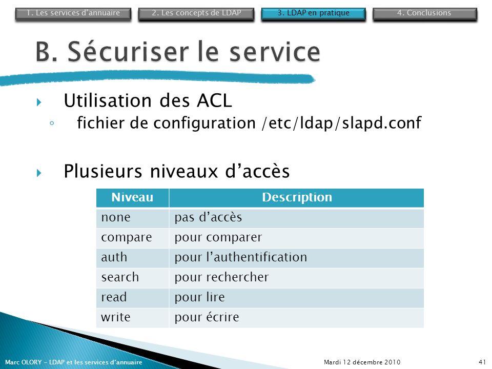 Utilisation des ACL fichier de configuration /etc/ldap/slapd.conf Plusieurs niveaux daccès Mardi 12 décembre 2010Marc OLORY – LDAP et les services dan